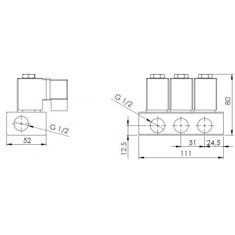 """kulový ventil MP 163-3, G 1/2"""", 230V AC, - nerez"""