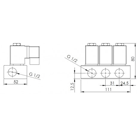 """kulový ventil MP 163-3, G 1/2"""", 230V AC,"""